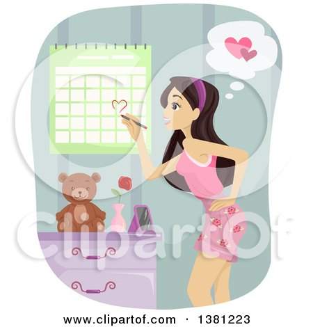 Clipart of a Teenage Girl Marking Her Calendar for Valentines Day or an Anniversary - Royalty Free Vector Illustration by BNP Design Studio