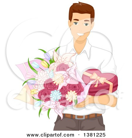 Clipart of a Romantic Brunette Caucasian Man Holding Valentines Day Flowers and Chocolates - Royalty Free Vector Illustration by BNP Design Studio