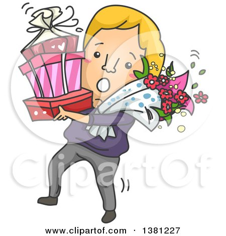 Clipart of a Cartoon Clumsy Romantic Blond Caucasian Man Carrying Gifts and Flowers on Valentines Day - Royalty Free Vector Illustration by BNP Design Studio