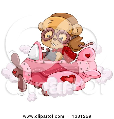 Clipart of a Cute Female Bear Flying a Pink Valentines Day Airplane - Royalty Free Vector Illustration by BNP Design Studio