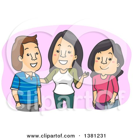 Clipart of a Cartoon Woman Introducing Her Friend to a Man - Royalty Free Vector Illustration by BNP Design Studio