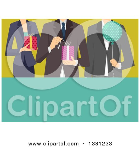 Clipart of a Cropped View of Professionals Holding a Balloon and Gifts at a Retirement Party, with Text Space - Royalty Free Vector Illustration by BNP Design Studio
