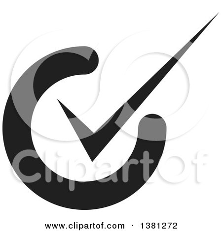 Clipart of a Black Selection Tick Check Mark App Icon Button Design Element - Royalty Free Vector Illustration by ColorMagic