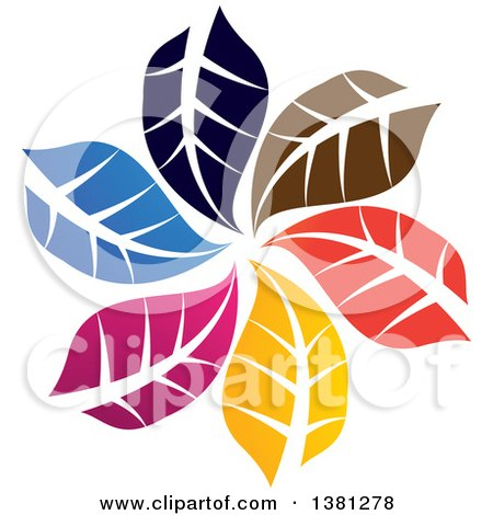 Clipart Of A Circle Of Colorful Leaves Royalty Free Vector Illustration