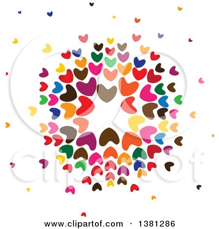 Clipart Of A Circle Of Colorful Hearts Royalty Free Vector Illustration