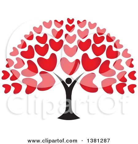 Clipart of a Black Person Tree Trunk with Red Heart Foliage - Royalty Free Vector Illustration by ColorMagic