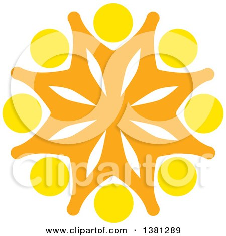 Clipart of a Teamwork Unity Group of Yellow and Orange People - Royalty Free Vector Illustration by ColorMagic