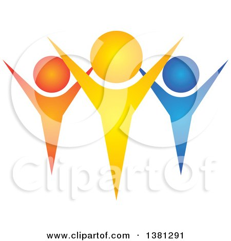 Clipart of a Teamwork Unity Group of Colorful People