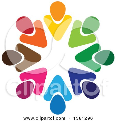 Clipart of a Teamwork Unity Circle of Colorful Diverse People - Royalty Free Vector Illustration by ColorMagic