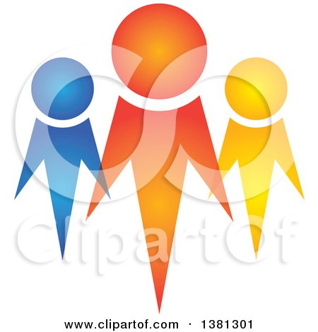 Clipart of a Teamwork Unity Group of Colorful Diverse People - Royalty Free Vector Illustration by ColorMagic