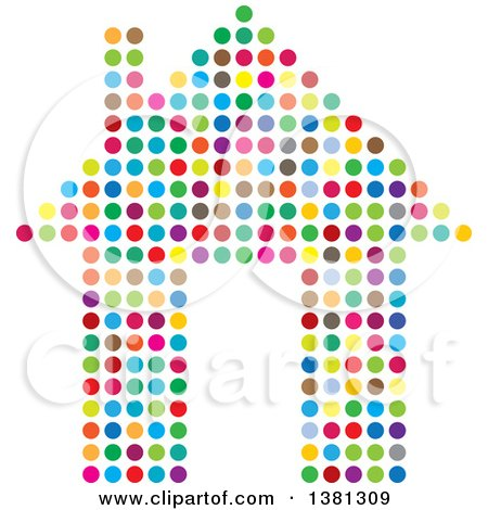 Clipart of a Colorful Polka Dot House - Royalty Free Vector Illustration by ColorMagic