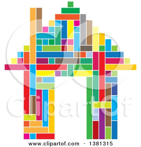 Clipart of a Colorful Geometric House - Royalty Free Vector Illustration by ColorMagic