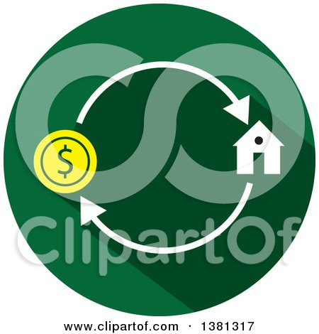 Clipart of a Flat Design Round Home Purchase Icon - Royalty Free Vector Illustration by ColorMagic