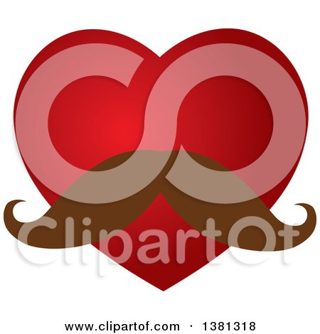 Clipart of a Red Heart with a Mustache - Royalty Free Vector Illustration by ColorMagic