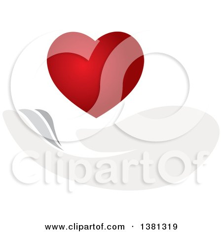 Clipart of a Gentle Hand Under a Gradient Red Heart - Royalty Free Vector Illustration by ColorMagic
