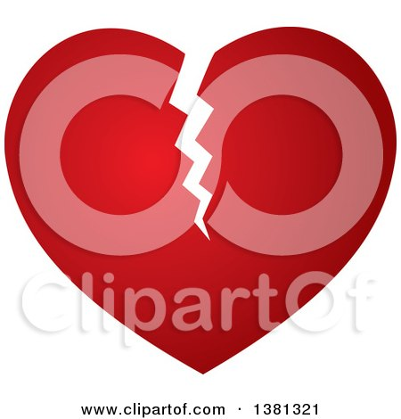 Clipart of a Gradient Broken Red Heart - Royalty Free Vector Illustration by ColorMagic