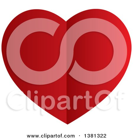 Clipart of a Gradient Creased Red Heart - Royalty Free Vector Illustration by ColorMagic