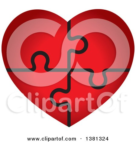 Clipart of a Gradient Red Puzzle Heart - Royalty Free Vector Illustration by ColorMagic