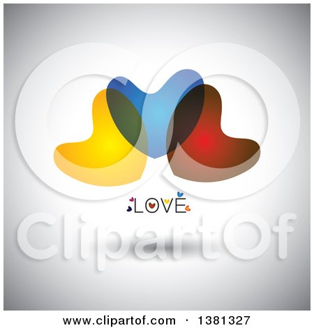 Clipart of Colorful Overlapping Hearts on Gray with Love Text - Royalty Free Vector Illustration by ColorMagic