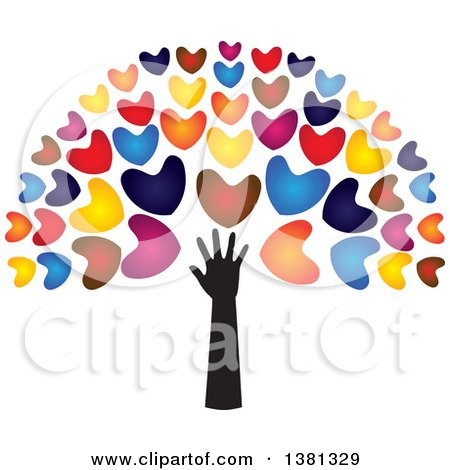 Clipart of a Black Arm with Colorful Tree Heart Foliage - Royalty Free Vector Illustration by ColorMagic