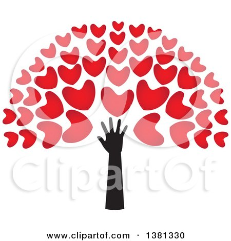 Clipart of a Black Arm with Red Tree Heart Foliage - Royalty Free Vector Illustration by ColorMagic
