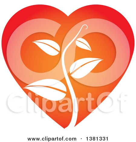 Clipart of a White Vine in a Gradient Heart - Royalty Free Vector Illustration by ColorMagic