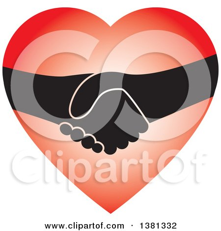 Clipart of a Handshake in a Heart - Royalty Free Vector Illustration by ColorMagic