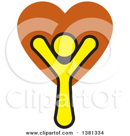 Clipart of a Happy Cheering Person with a Heart - Royalty Free Vector Illustration by ColorMagic
