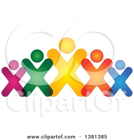 Clipart of a Teamwork Unity Group of Colorful People - Royalty Free Vector Illustration by ColorMagic