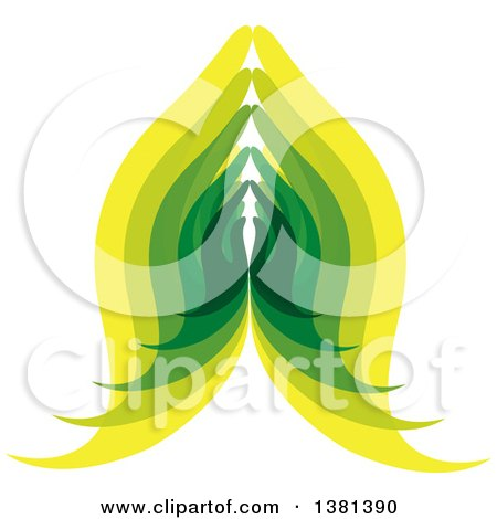 Clipart of Green and Yellow Prayer or Namaste Hands - Royalty Free Vector Illustration by ColorMagic