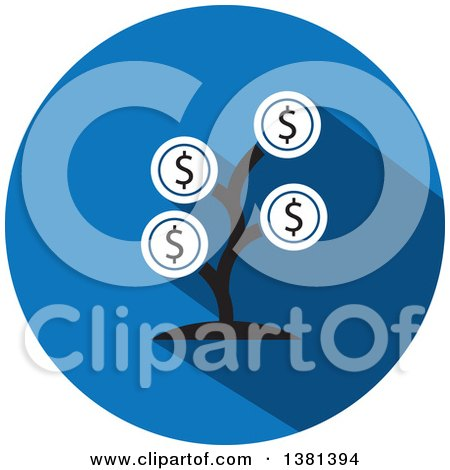 Clipart of a Flat Design Round Money Tree Icon - Royalty Free Vector Illustration by ColorMagic