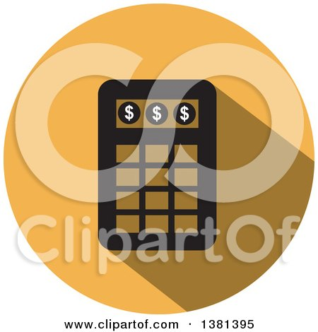 Clipart of a Flat Design Round Calculator Icon - Royalty Free Vector Illustration by ColorMagic
