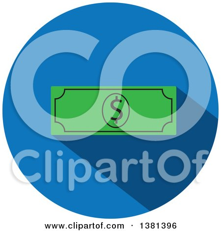 Clipart of a Flat Design Round Cash Money Icon - Royalty Free Vector Illustration by ColorMagic