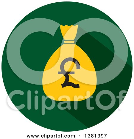 Clipart of a Flat Design Round Pound Sterling Money Bag Icon - Royalty Free Vector Illustration by ColorMagic