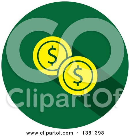 Clipart of a Flat Design Round Dollar Coin Icon - Royalty Free Vector Illustration by ColorMagic