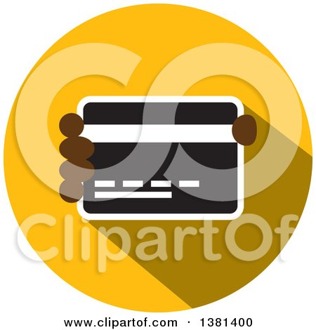 Clipart of a Flat Design Round Credit Card Icon - Royalty Free Vector Illustration by ColorMagic