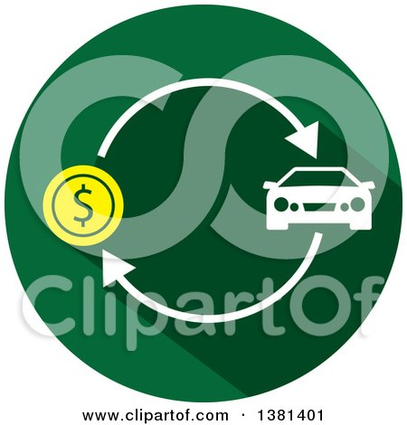 Clipart of a Flat Design Round Car Purchase Icon - Royalty Free Vector Illustration by ColorMagic