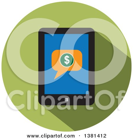 Clipart of a Flat Design Round Smart Phone Purchase Icon - Royalty Free Vector Illustration by ColorMagic