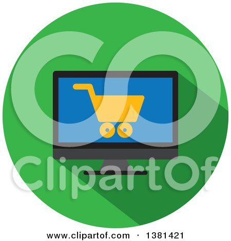 Clipart of a Flat Design Shopping Cart Icon on a Screen - Royalty Free Vector Illustration by ColorMagic