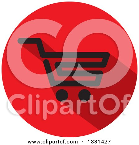 Clipart of a Flat Design Black and Red Shopping Cart Icon - Royalty Free Vector Illustration by ColorMagic
