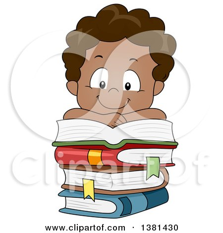 Clipart of a Happy Black Boy Reading and Resting on a Stack of Books - Royalty Free Vector Illustration by BNP Design Studio