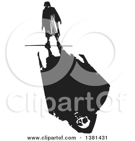 Clipart of a Black and White Woodcut Lone Senior Woman Walking with a Skull and Shadow - Royalty Free Vector Illustration by xunantunich