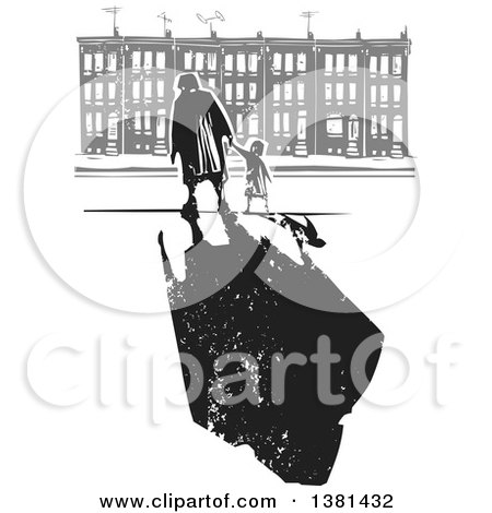 Clipart of a Woodcut Senior Woman Walking with a Grandchild near Row Houses, and a Dark Shadow - Royalty Free Vector Illustration by xunantunich