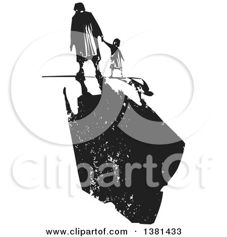 Clipart of a Black and White Woodcut Senior Woman Walking with a Grandchild and a Dark Shadow - Royalty Free Vector Illustration by xunantunich
