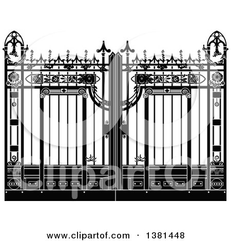 Clipart of a Vintage Black and White Ornate Wrought Iron Gate - Royalty Free Vector Illustration by Frisko