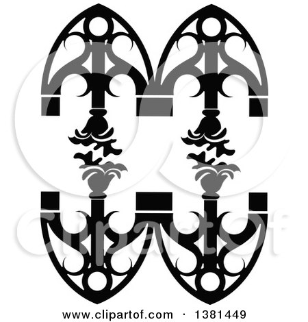 Clipart of a Vintage Black and White Ornate Wrought Iron Design Element with Flowers - Royalty Free Vector Illustration by Frisko