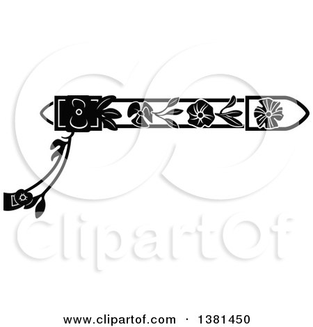 Clipart of a Vintage Black and White Ornate Wrought Iron Border with Flowers - Royalty Free Vector Illustration by Frisko