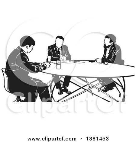 Clipart of a Black and White Group of Business Men Having a Meeting - Royalty Free Vector Illustration by dero