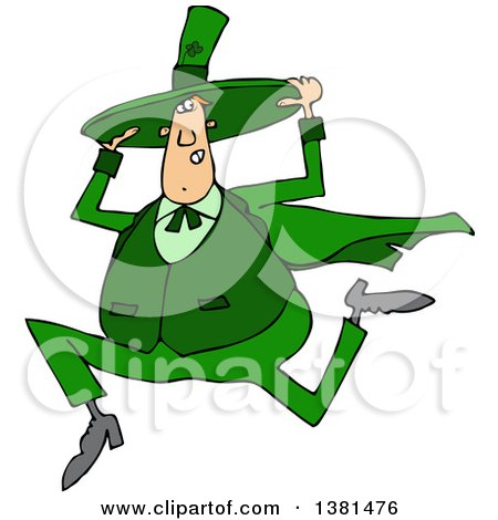 Clipart Of A Cartoon Chubby St Patricks Day Leprechaun Holding His Hat And Running Royalty Free Vector Illustration