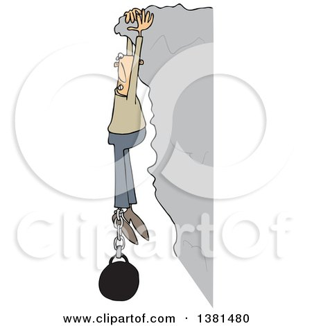Clipart of a Cartoon White Man Hanging from a Cliff with a Ball and Chain Attached to His Ankle - Royalty Free Vector Illustration by djart